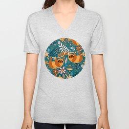 Happy Boho Sloth Floral Unisex V-Neck