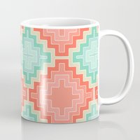 kilim Mugs featuring coral mint kilim by musings