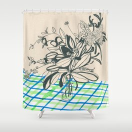 Flowers at the framhouse cafe -line drawing leaves #6 Shower Curtain