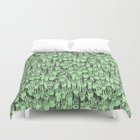 concert Duvet Covers featuring Rock Concert - Thrashing! by Deep Fried Lettuce