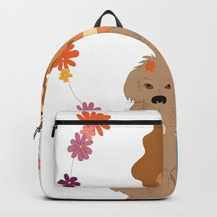 1b7e1ce2601f Digital illustration hippie girl with dog sitting flower power 70s style  animals Backpack. by