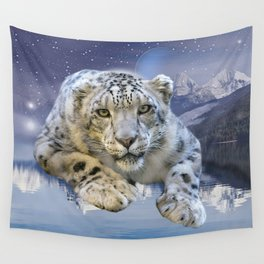 Snow Leopard and Moon Wall Tapestry
