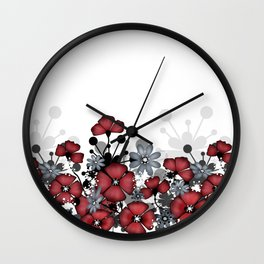 Red flowers on a white background . Wall Clock