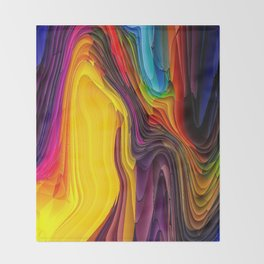 Melting Pot of Colors Abstract Throw Blanket