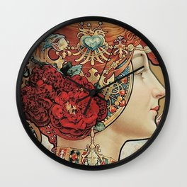 Lady With Flowers - Alphonse Mucha Wall Clock