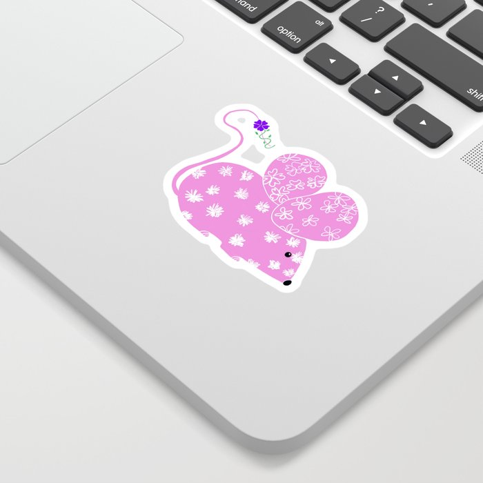 Miss Mousy Pinkie with Purple Petunia Sticker