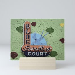 Blue Swallow Court Sign Mini Art Print