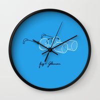 glasses Wall Clocks featuring Glasses by micheleficeli