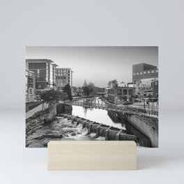 Black and White of Downtown Greenville Mini Art Print