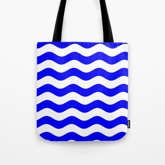 Wavy Stripes (Blue/White) Tote Bag