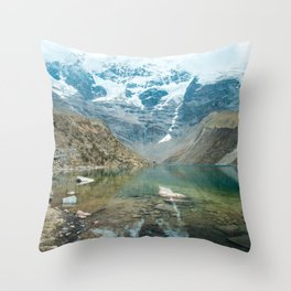 Perfection | Nature Landscape Photography of Still Blue Lake with Snowy Mountains in Peru Throw Pillow