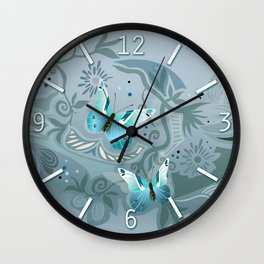 Butterfly tangle, colony blue Wall Clock
