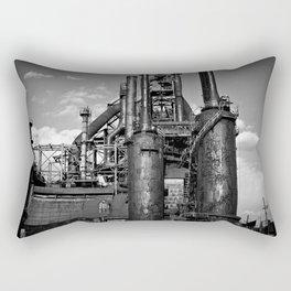 Black and White Bethlehem Steel Blast Furnace Rectangular Pillow