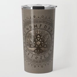 Tree of life with Triquetra Beige Leather and gold Travel Mug