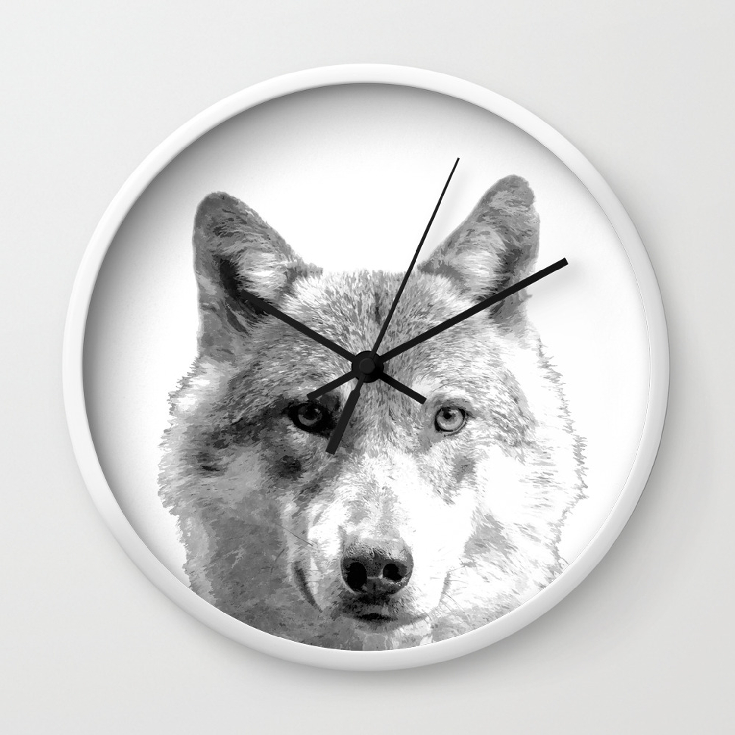 Black and white wolf wall clock