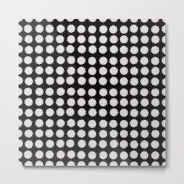 Milk Glass Polka Dots Black And White Metal Print