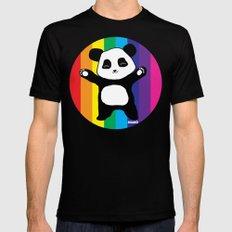 Panda Hugs MEDIUM Black Mens Fitted Tee