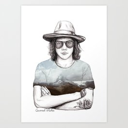 Harry and the mountains Art Print