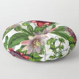 Vintage & Shabby Chic- Retro Passiflora Garden Flower Pattern Floor Pillow