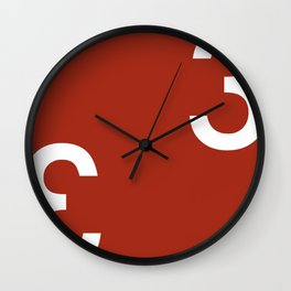 Threes - Red and White Modern Art Wall Clock