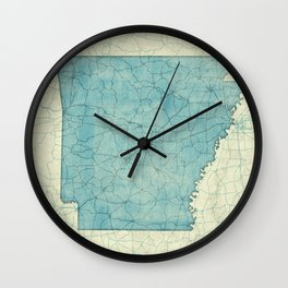 Arkansas State Map Blue Vintage Wall Clock