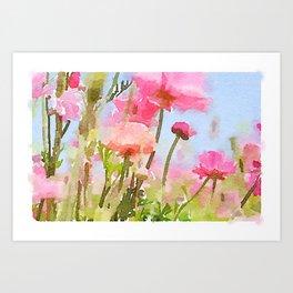Watercolor Ranunculus Art Print