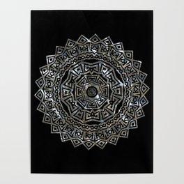Aztec Mexican Silver Mandala Poster