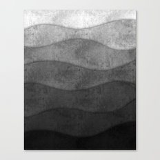 Monochrome waves Abstract modern art Canvas Print
