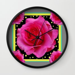 Grey-Black Pink Roses Decorative Art Wall Clock