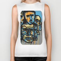 talking heads Biker Tanks featuring Heads by andres lozano