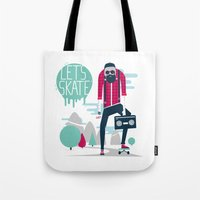 skate Tote Bags featuring Let's skate  by SpazioC