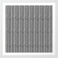 Herringbone Black Art Print
