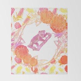 Australian Native Floral Print with Koala Throw Blanket