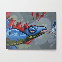 Stegosaurus Spit in Blue and Pink Metal Print