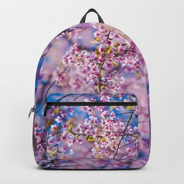 PINK CHERRY BLOSSOM TREE IN THE MORNING Backpack