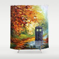 fandom Shower Curtains featuring starry Autumn blue phone box Digital Art iPhone 4 4s 5 5c 6, pillow case, mugs and tshirt by Three Second