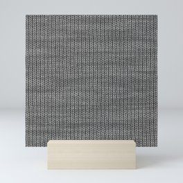 Antiallergenic Hand Knitted Grey Wool Pattern - Mix & Match with Simplicty of life Mini Art Print