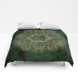 Golden Flower Mandala on Dark Green Comforters