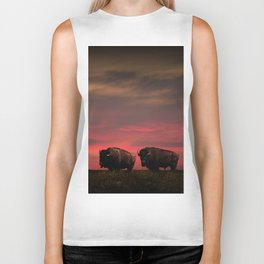 Two American Buffalo Bison at Sunset Biker Tank