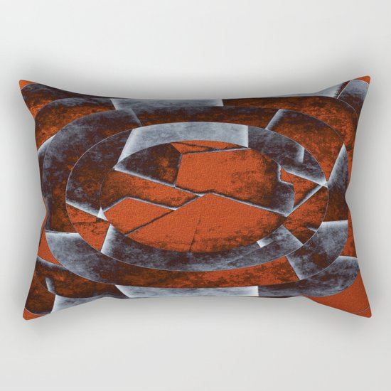 Concentric Rust - Abstract, geometric, tectured art in rustic brown, black and white Rectangular Pillow
