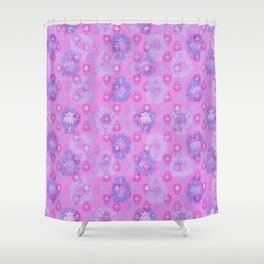 Lotus flower - rich rose woodblock print style pattern Shower Curtain