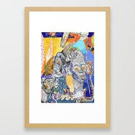 The shrimp eater, the kid and the surfer Framed Art Print