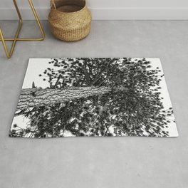 Tree Top // Snowy Winter Alpine Branches Trunk Nature Landscape Photography Black and White Decor Rug