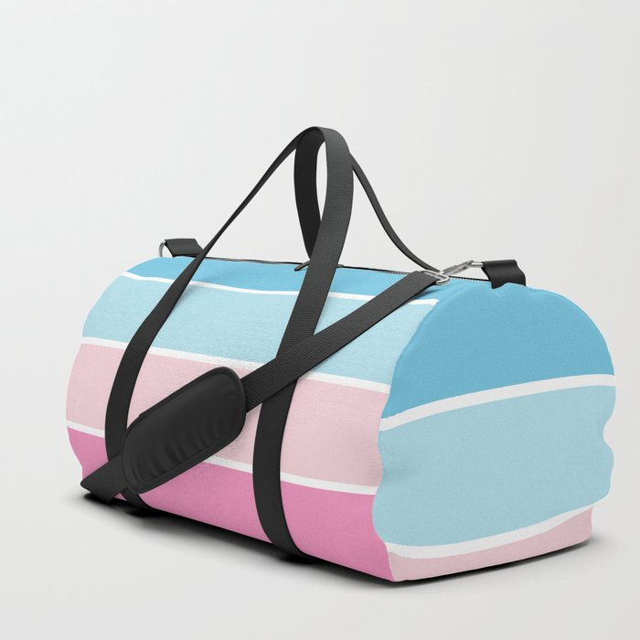 Pastel Pink Blue Horizontal Stripes Duffle Bag