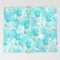Turquoise Palm Leaves and Pineapples on Pink Throw Blanket