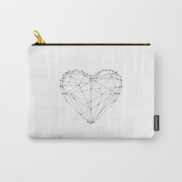 Love Heart Geometric Polygon Drawing Vector Illustration Valentines Day Gift for Girlfriend Carry-All Pouch