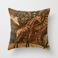 Three Giraffes Throw Pillow