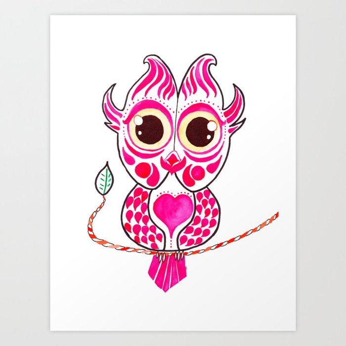 Watercolor Art | Pink Owl Art Print