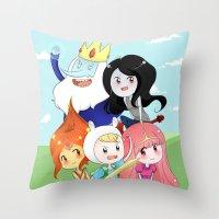 finn and jake Throw Pillows featuring Finn & Jake  by Rikku Hanari