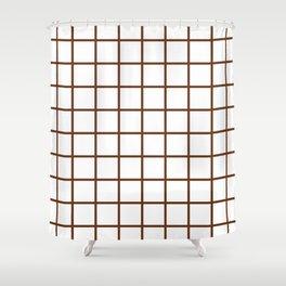 GRID DESIGN (BROWN-WHITE) Shower Curtain